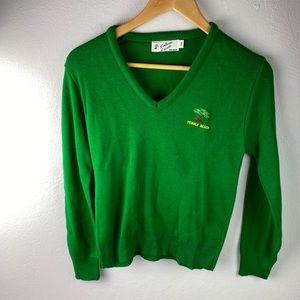 Vintage Pebble Beach v neck pullover sweater